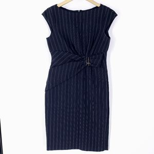Anne Klein Black White Pinstripe Dress Size 6